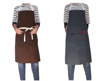FULL APRON, ONE Size - Canvas Apron, natural cotton apron, womens Apron With Pocket, work Apron, Grilling Apron, Rustic Apron, Bbq Apron