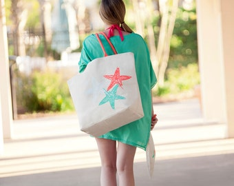 SOLD Out Starfish Canvas Tote Bag is Perfect for Beach or Poolside.  Perfect size for traveling in style.  Bring on the Sun & Fun.