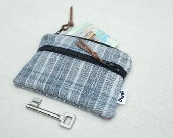 Fabric Wallet Men, Money Clip, Grey Card Wallet, Men's Essential Wallet, Gift Under 25