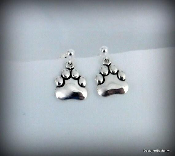 Sterling silver paw print earrings, ball post earrings, pet lovers jewelry, cat paw earrings, puppy paw earrings