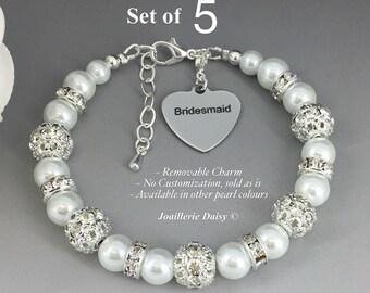 Set of 5 Bracelet Pearl Jewelry Bridesmaid Gift Bridesmaid Bracelet Bridesmaid Jewelry Bridal Party Jewelry Wedding Jewelry