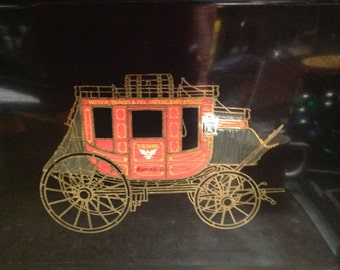Vintage COUROC Large Tray WELLS FARGO Stagecoach