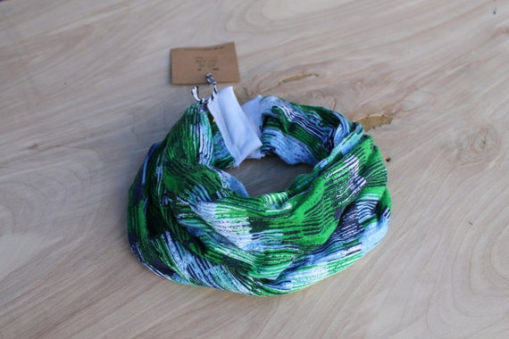 Baby Infinity Scarf Bib in blue green stripey, Hipster Style Baby Bib, Jersey Knit Fabric and Plastic Snaps, Babies and Toddlers