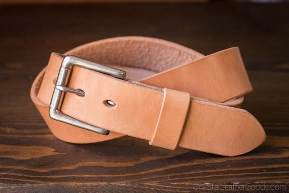 "Custom sized belt - 1.25"" width - THICK 12 oz. tan harness leather - heel bar buckle"
