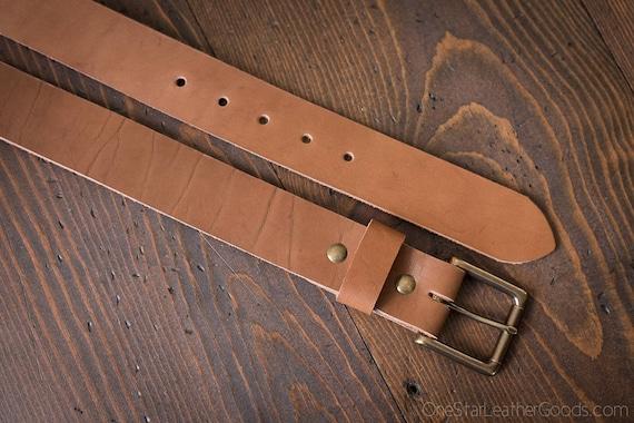 """Custom sized belt - 1.5"""" width - harness leather - heel bar buckle"""