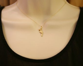 Solid 14K Gold Gun Pendant/ Pistol Charm/ Gold Necklace/ Free Shipping