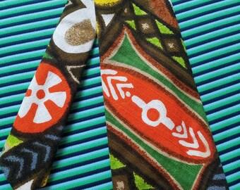 Barkcloth Tiki 60's Tie