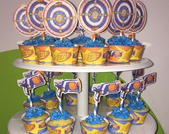 Nerf cupcake wrappers and toppers