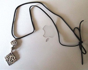 Silver Filigree Pendant Necklace on Black Leather Cord