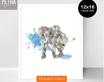 Elephant Nursery Print -Nursery Print -Elephant gifts print,Unique Baby Gift .  Abstract Art Framed print. 12x16 size
