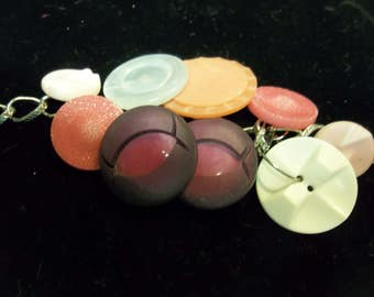 Vintage Upcycled Button Charm Bracelet, 317S