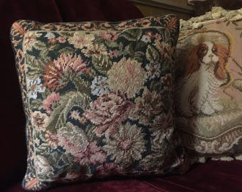 Country English Needlepoint floral Pillow