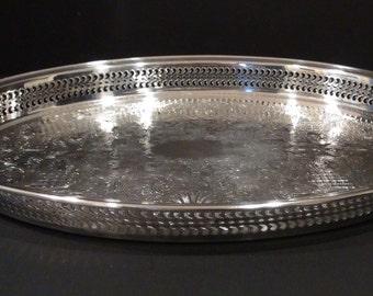 Silver Plate Gallery Tray / International Silver Co. / Silverplate Gallery Tray