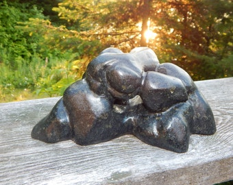 Stone carving of shapes  A gift for a loved one  See Inscription on the base. Signed J Derm, To Our Future, 1981, 10x5x5