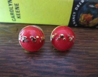 FREE SHIPPING Pretty Red Bubble Earrings.