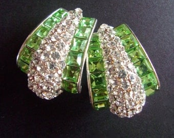 Designer Clear Pave' & Green Rhinestone Earrings, Silver Tone, Clip-On Vintage