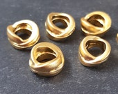 Rustic Wrap Chunky Ring Rondelle Bead Spacers 22k Matte Gold Plated - 8pc