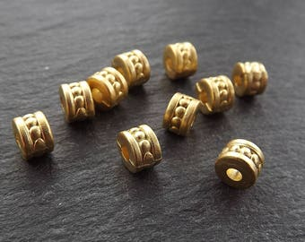 NEW 10 Bobble Detail Collar Bead Spacers - 22k Matte Gold Plated - Type 3