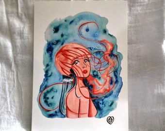 Jellyfish Mermaid 5x7 print