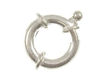 15mm Spring Ring Clasps Sterling silver 15mm x 3mm- Necklace shortner, endless loop - Marked 925 - SF913