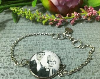 STAINLESS STEEL MEMORY Bracelet|Custom Photo Bracelet|Personalized Photo Jewelry|Family Photo Charm|Ceremonial Gift|Gift for Her/Mum/Nan