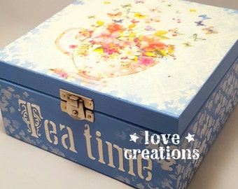 Tea Time Box,Lovely flowers theme wooden tea caddy, kitchen decor,storage,compartments trinket box, decoupaged wooden box.Can be customized