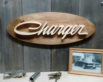 1969 Dodge Charger Emblem Oval Wall Plaque-Unique scroll saw automotive art created from wood for your garage, shop or man cave.