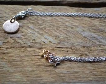 Personalized Hand Stamped Initial disc Necklace w/gold, silver and rose gold star charm.Valentine's.Custom.Gifts.Bridesmaid. Friend.Handmade