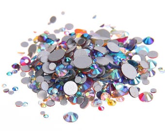 AB Mixed Colors --  Crystal Glass Rhinestones Flatback High Quality no hotfix  Wholesale Pack Lot -- SS4-SS30 Choose your size