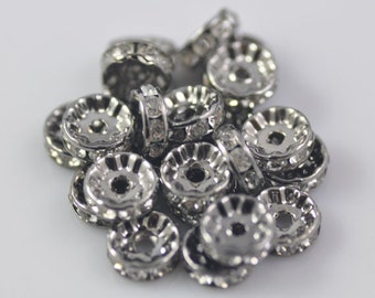 50pcs 8mm Gun Blcak Crystal Rhinestone Spacer Wheel Rondelles Beads charms - for earring/necklace/bracelet stone connectors spacers