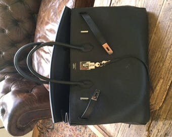 Hermes Birkin Clemence leather black and silver hardware 40