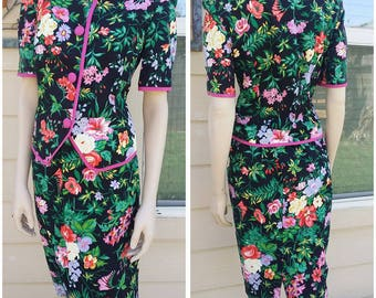 vintage 80s floral suit size 10 by Leslie Fay