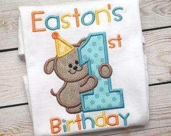 Boys or girls first birthday number embroidered shirt or onesie, Boys puppy dog birthday shirt, girls puppy dog birthday applique shirt