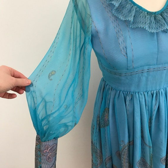 1970s dress vintage Mod deep frill wide neckline blue paisley chiffon floaty long bishop sleeves Flared skirt UK 8 US 4 70s boho gypsy