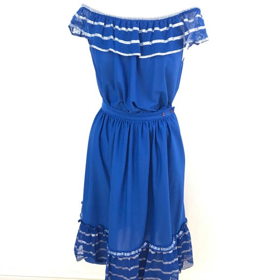 "Vintage off shoulder top gypsy peasant skirt patio set polyester jersey electric blue high waist 28"" boho hippy summer silver net bardot 70s"