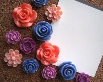 Thumbtack Set, 12 pc Pushpin Set in Coral, Peach, Lilac and Blue, Bulletin Board Tacks, Wedding Favors, Art Board Tacks, Dorm Room Decor
