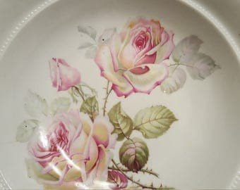 "Large Bavarian China Bowl Florals of Roses 10.75"" China Porcelain Bowl Bavaria Pink Roses Florals"