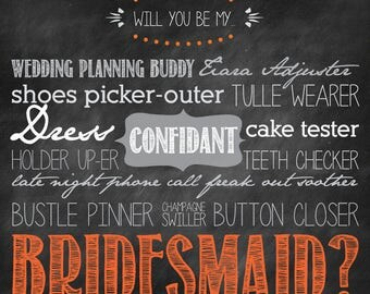 Will You be my bridesmaid?  - 5.5x5.5 Customizable Printable Digital File