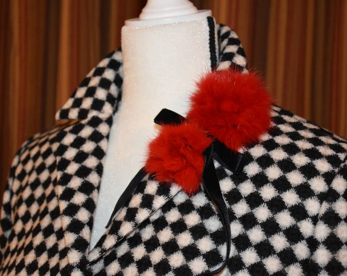 Featured listing image: Vintage 1980s Rickie Freeman for Teri Jon 100% Wool Skirt Suit with Red Rabbit Fur Pom-Pom Embellishments and Velvet Bows and Buttons SIZE 6