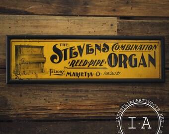 Vintage The Stevens Organ Sign (Non-Porcelain)