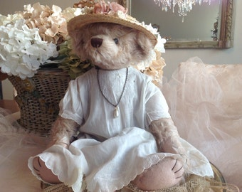 Sweet vintage completely hand sewn and designed Victorian dressed teddy bear