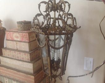 Unbelievably gorgeous large antique French ormolu wreaths swags and barbola bows large chandelier with etched glass panels