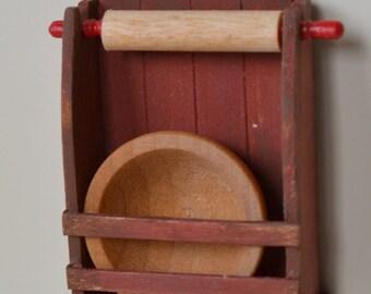 Primitive Wallshelf with Rolling Pin & Dough bowl