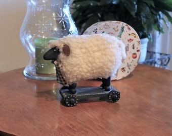 Vintage Primitive Wooly Barnyard Sheep on Wheels for Home Decor