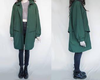 1980s Vintage Coat Jacket Polyester Green for Women
