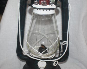 Vintage Dietz Lantern Black 1960's with Folk Art Barn