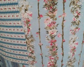 Large vintage patchwork fabric cushion ~ rustic primitive floral toile and ticking stripes cottage chic
