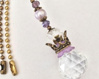 Purple Crystal ball chain pull or sun catcher ornament. Princess crown light pull, ceiling fan pull. Girls room decor, decorative pull chain