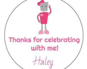 12 Robot Girl Stickers, Robot Birthday, Pink Robot, Robot Theme, First Birthday, Robots, Robot Favors, Thank You Stickers, Robot Shower