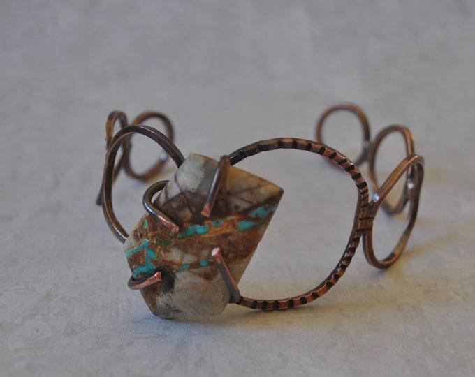 Boulder turquoise stone copper cuff,  rustic copper bracelet, metal work, boho, unisex